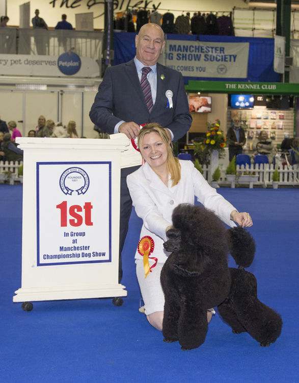 Frankie winning the Group at Manchester Dog Show 2017